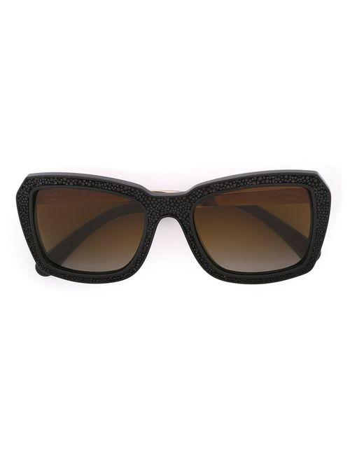 Chanel Vintage | Женские Чёрные Солнцезащитные Очки Из Кожи Ската