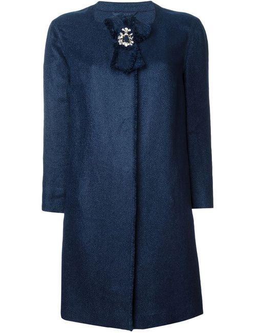Ermanno Scervino | Женское Синее Пальто С Брошью