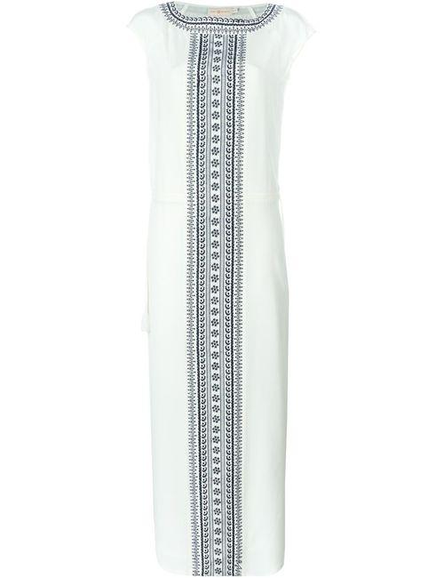 Tory Burch | Женское Белое Длинное Платье С Вышивкой