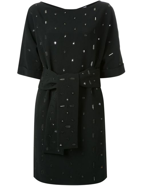 OSMAN | Женское Чёрное Декорированное Платье С Поясом