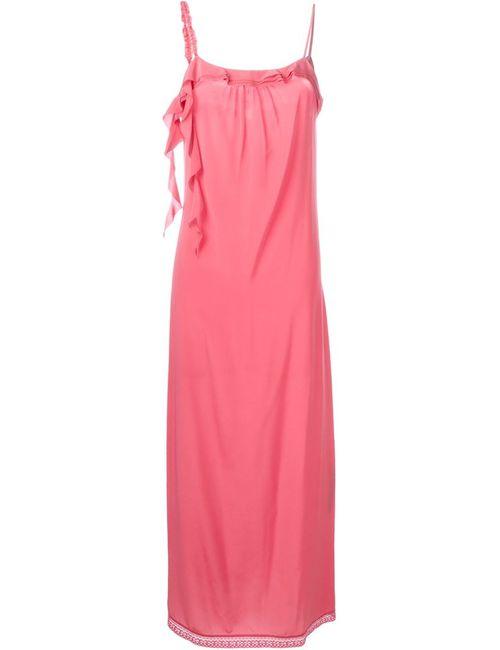 Twin-set | Женское Розовое Платье На Бретелях С Рюшами