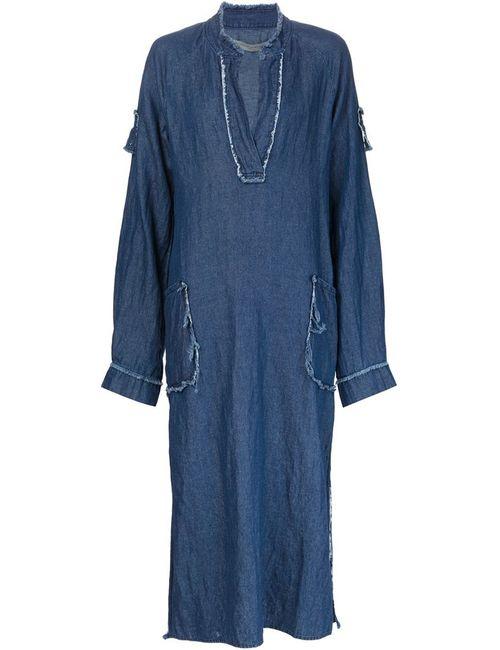 Raquel Allegra | Женское Синее Длинное Платье-Туника