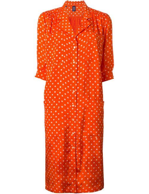 Emanuel Ungaro Vintage | Женское Жёлтое Платье-Рубашка С Узором В Горох