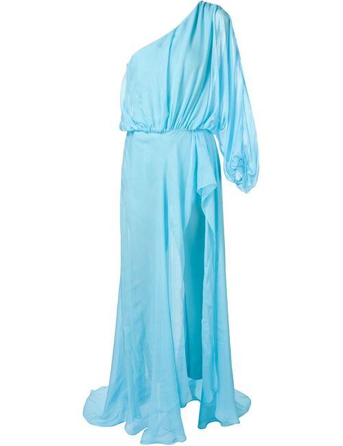TAMARA MELLON | Женское Синее Драпированное Платье На Одно Плечо