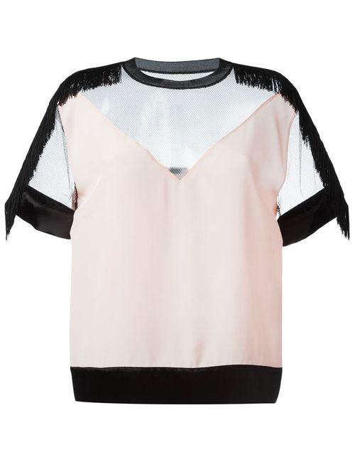 Versace | Женская Розовая Блузка С Прозрачной Вставкой