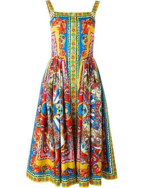 Dolce & Gabbana | Женское Многоцветное Платье С Принтом Carretto Siciliano