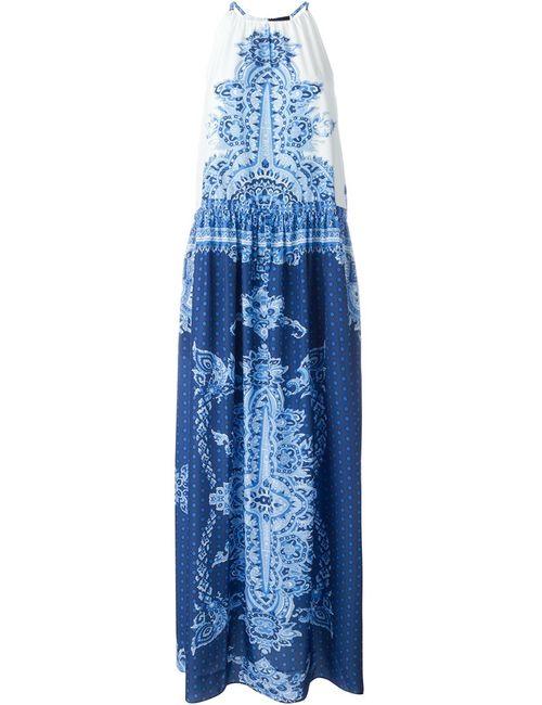 Twin-Set Jeans   Женское Синее Платье Без Рукавов С Принтом