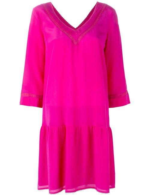 Twin-set | Женское Розовое Платье Шифт C V-Образным Вырезом
