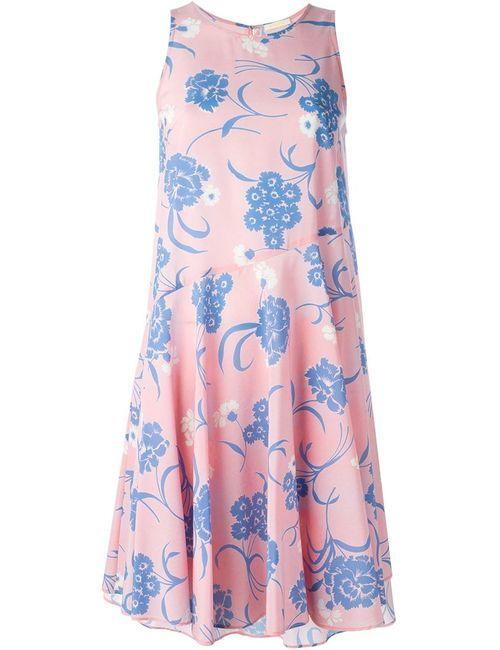 P.A.R.O.S.H. | Женское Розовое Расклешенное Платье С Цветочным Принтом