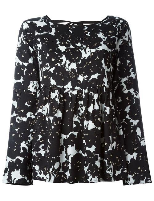 Twin-set | Женская Чёрная Блузка С Цветочным Принтом