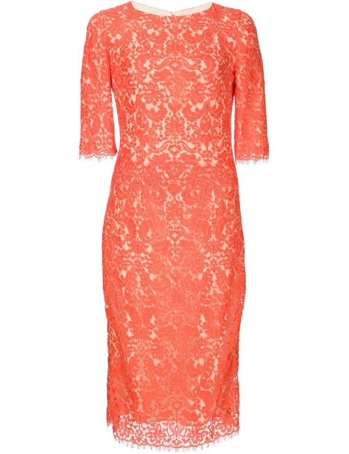 Carolina Herrera | Женское Красное Кружевное Платье-Футляр