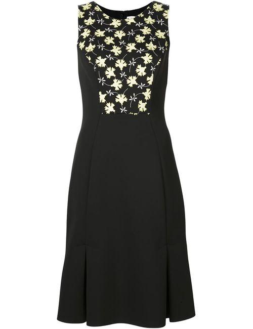 Carolina Herrera | Женское Чёрное Приталенное Платье С Цветочным Принтом