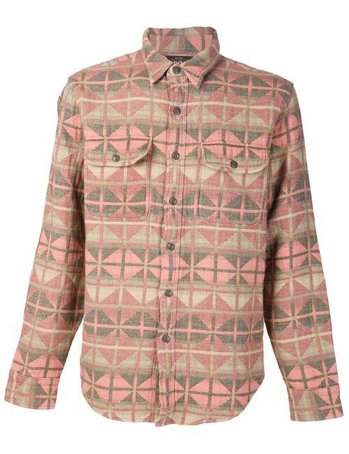 RRL | Мужская Розовая Рубашка С Ацтекским Узором