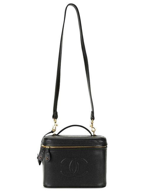Chanel Vintage | Женский Чёрный Чемоданчик Для Косметики С Тисненым Логотипом