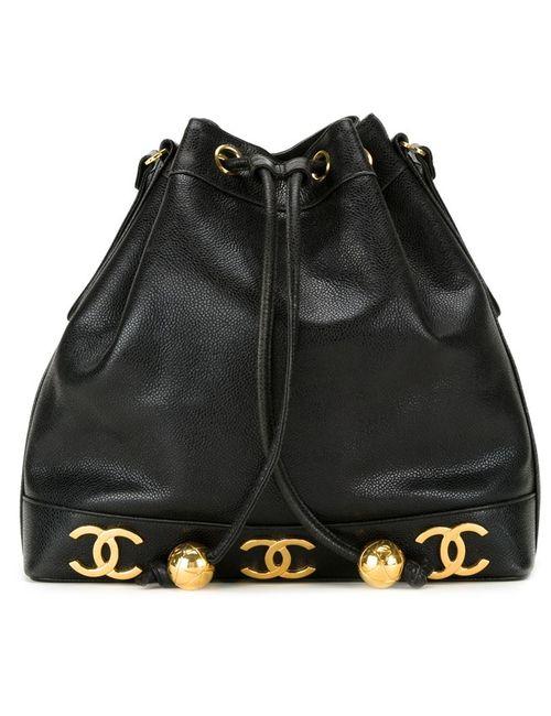 Chanel Vintage | Женская Чёрная Сумка-Мешок С Бляшками С Логотипом