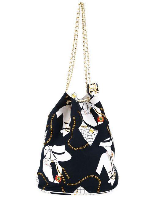 Chanel Vintage | Женская Синяя Сумка-Мешок С Принтом Jumbo
