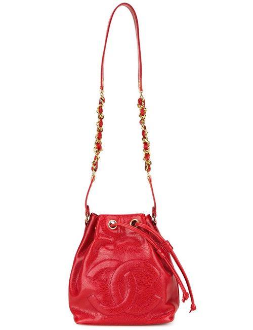 Chanel Vintage | Женская Красная Сумка-Мешок С Тисненым Логотипом