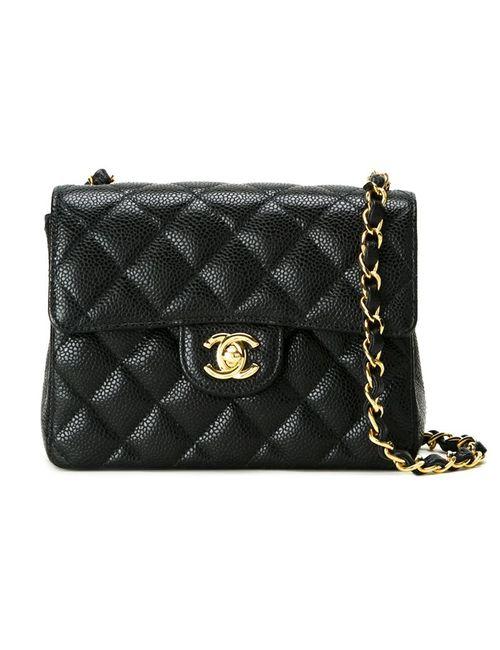 Chanel Vintage   Женская Чёрная Стеганая Сумка Через Плечо