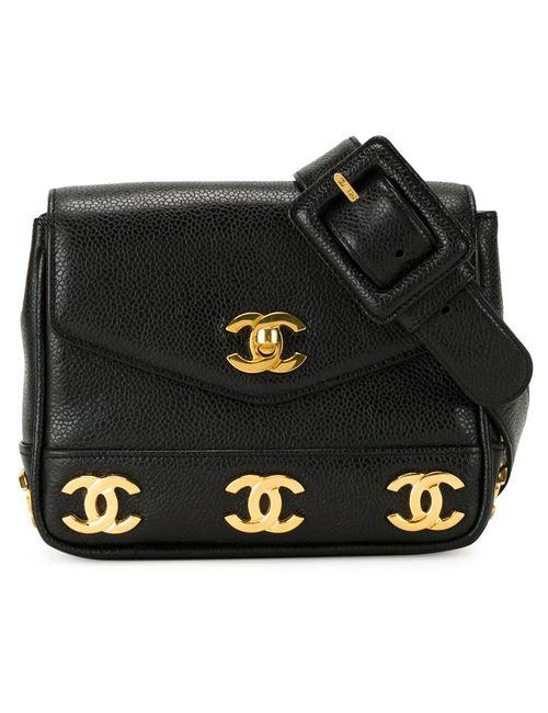 Chanel Vintage | Женская Чёрная Поясная Сумка С Бляшками С Логотипом