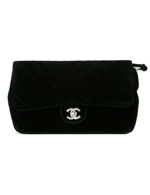 Chanel Vintage | Женский Чёрный Бархатный Рюкзак