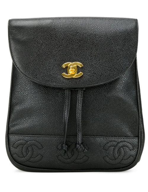 Chanel Vintage | Женский Чёрный Рюкзак С Тисненым Логотипом