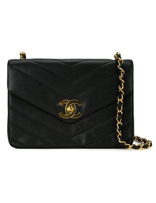 Chanel Vintage | Женская Чёрный Сумка С Простроченным Узором-Елочкой
