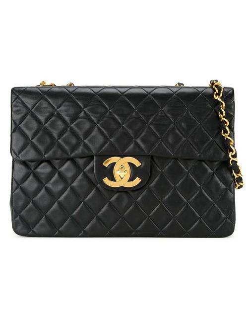 Chanel Vintage   Женская Чёрная Стеганая Сумка На Плечо Jumbo