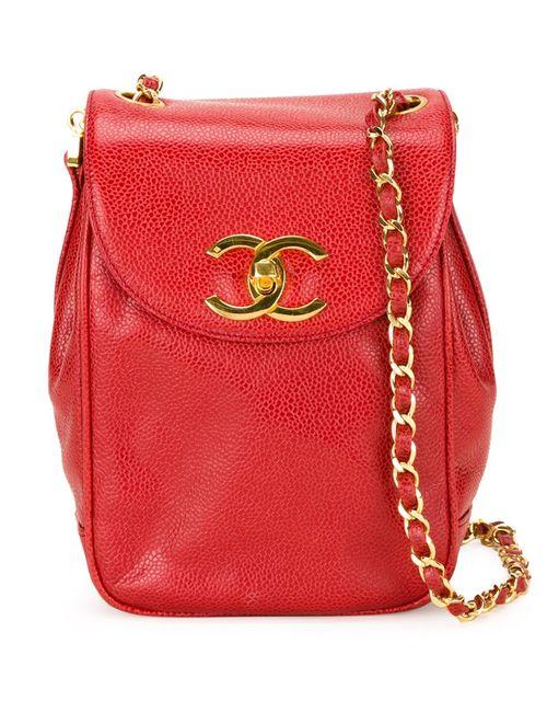 Chanel Vintage | Женская Красная Сумка Через Плечо С Откидным Клапаном