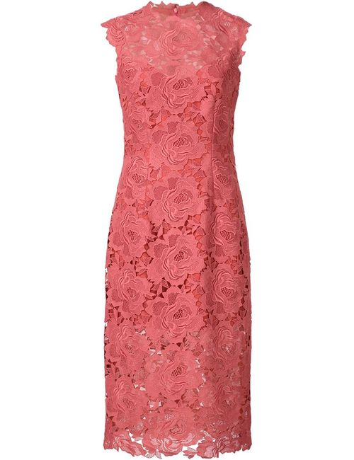 Monique Lhuillier | Женское Красное Кружевное Платье-Футляр