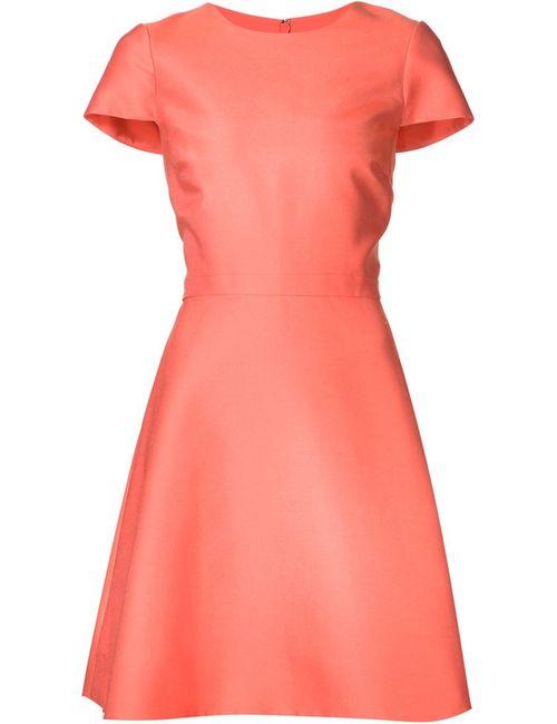 Monique Lhuillier | Женское Красное Расклешенное Платье С Короткими Рукавами
