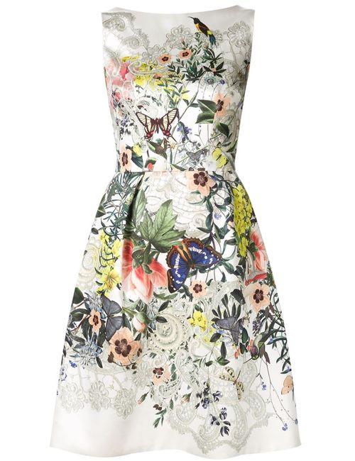 Monique Lhuillier | Женское Nude & Neutrals Приталенное Платье С Цветочным Принтом