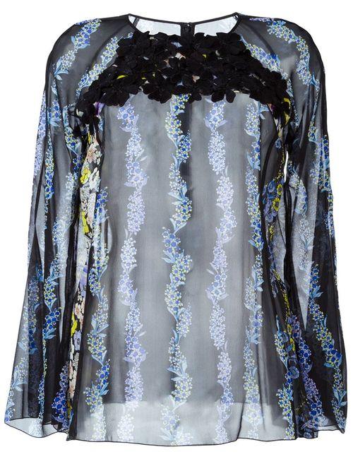 GIAMBA | Женская Черный Прозрачная Блузка С Цветочным Принтом