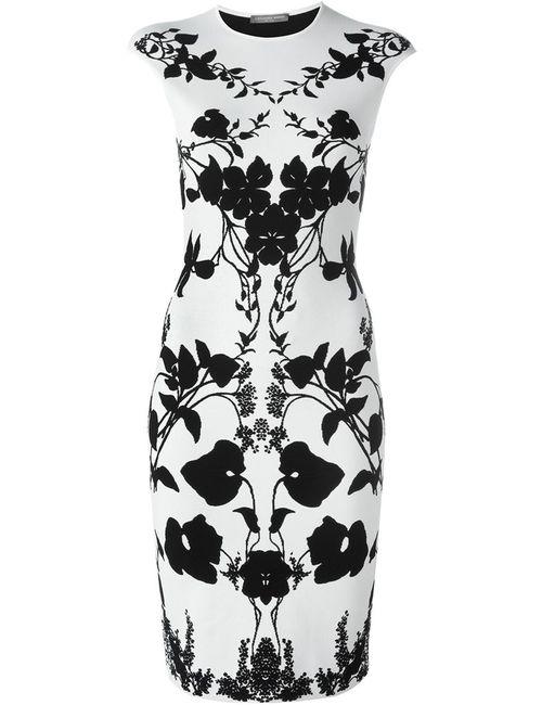 Alexander McQueen | Женское Белое Платье С Цветочным Узором
