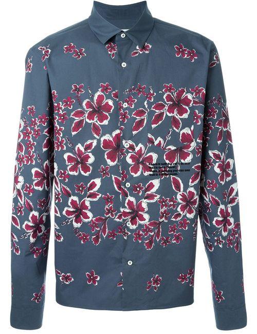 Valentino | Мужская Серая Рубашка С Принтом Цветков Гибискуса