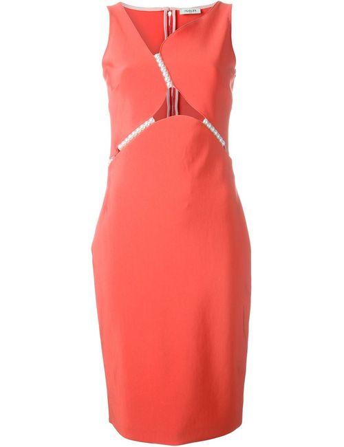 Mugler | Женское Красное Платье С Декоративным Жемчугом