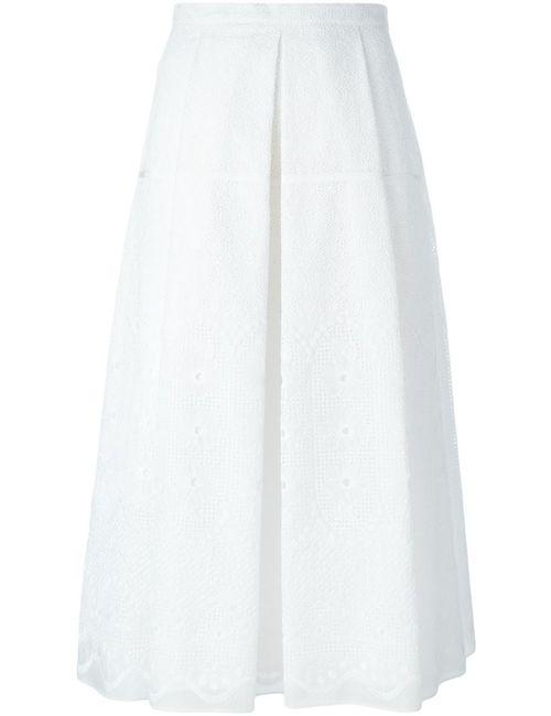 No21 | Женская Белая Юбка Со Складками И Вышивкой