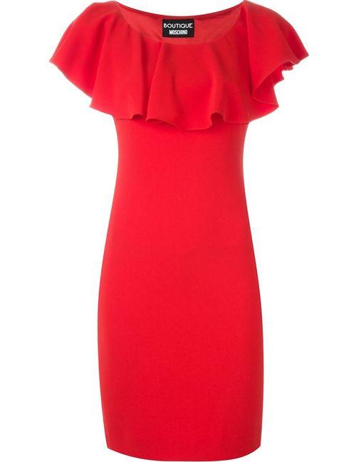 BOUTIQUE MOSCHINO | Женское Красное Приталенное Платье С Оборками