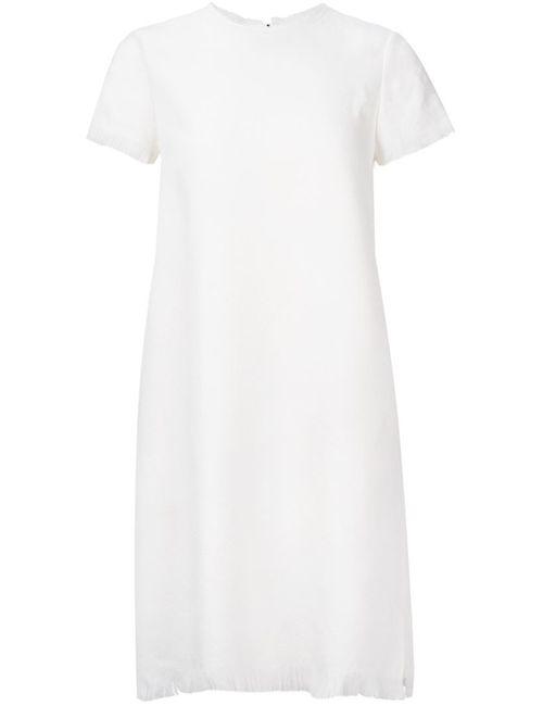 ASTRAET   Женское Белое Платье Шифт С Необработанными Краями