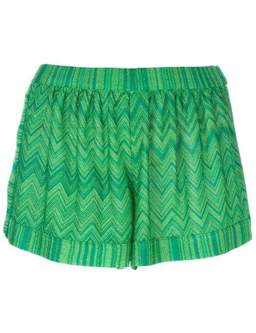 Missoni | Женские Зелёные Шорты С Зигзагообразным Узором