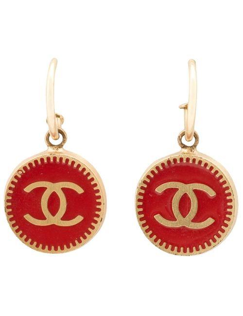 Chanel Vintage | Женские Серебристые Серьги-Подвески С Логотипом