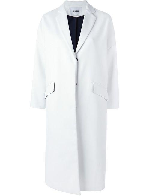 MSGM | Женское Белое Пальто С Заостренными Лацканами