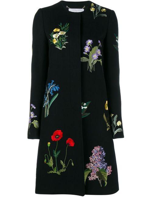 Stella Mccartney | Женское Чёрное Пальто Nadia С Цветочной Вышивкой