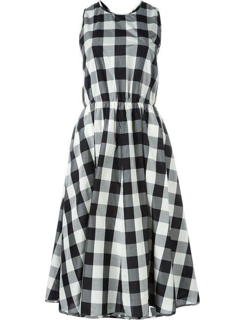 Rochas | Женское Чёрное Расклешенное Платье В Клетку