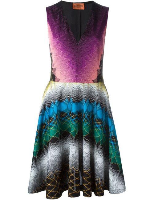 Missoni | Женское Многоцветное Расклешенное Платье С Орнаментом
