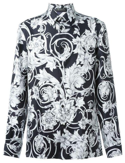 Versace | Мужская Черный Рубашка С Цветочным Принтом