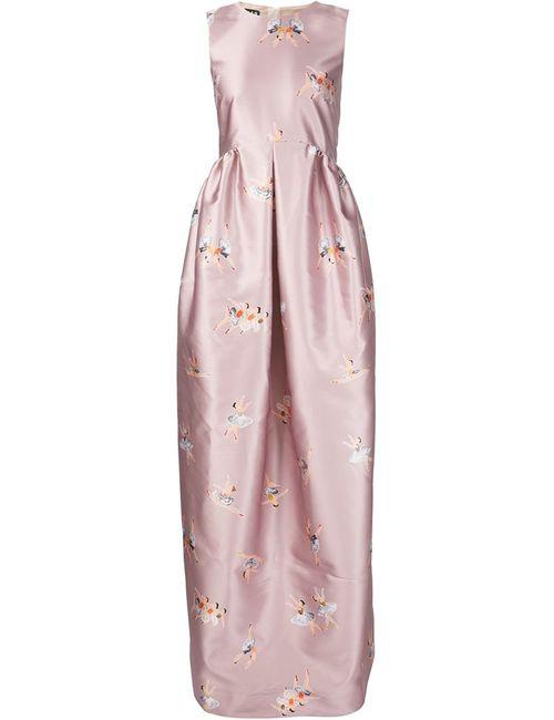 Rochas | Женское Розовое Вечернее Платье С Принтом Балерин