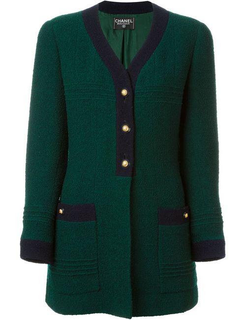 Chanel Vintage | Женское Зелёное Пальто С V-Образным Вырезом