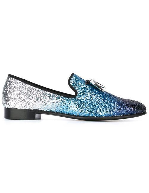 Giuseppe Zanotti Design | Мужские Синие Блестящие Слиперы С Кисточками
