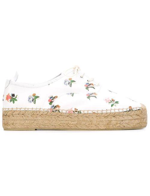Saint Laurent   Женские Белые Эспадрильи С Цветочным Принтом