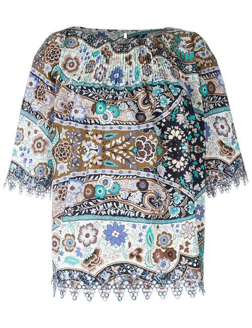 Etro   Женская Коричневая Блузка С Цветочным Принтом